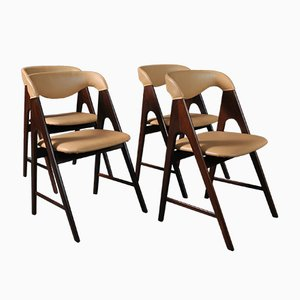Danish Teak and Leather Dining Chairs, 1950s, Set of 4