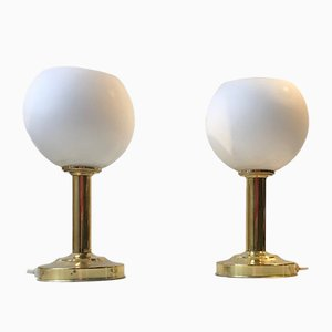 Vintage Danish Table Lamps in White Glass and Brass from ABO, 1970s, Set of 2