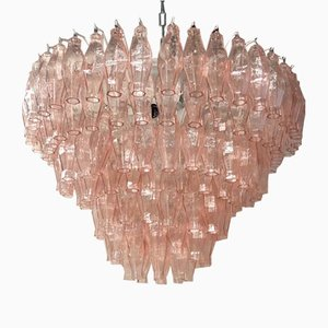 Mid-Century Pink Murano Round Polyhedra Chandelier, 1970s