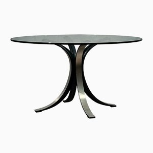 Round Glass & Metal T69 Table by Gerli Borsani for Tekno, 1960s