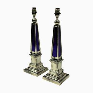 Versilberte Vintage Obelisken Tischlampen aus blauem Glas, 2er Set