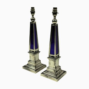 Vintage Silver-Plated and Blue Glass Obelisk Table Lamps, Set of 2