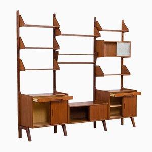 Mid-Century Scandinavian Teak 3-Bay Wall Unit with 4 Cabinets & 6 Shelves, 1960s