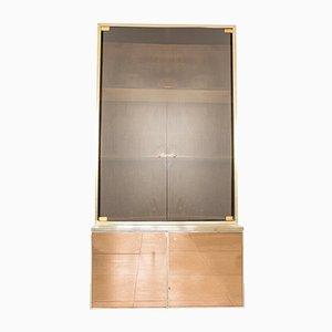Vintage Wood & Glass Cabinet, 1980s