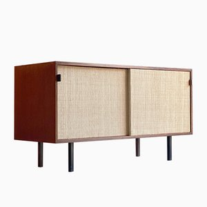 Walnut & Seagrass Model 116 Credenza by Florence Knoll Bassett for Knoll Inc. / Knoll International, 1950s