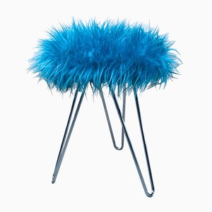 Vintage Electric Blue Fluffy Tripod Stool, 1960s