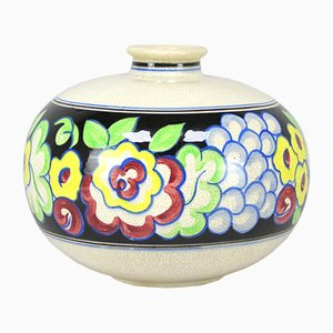 French Art Deco Hand-Painted Vase, 1930s