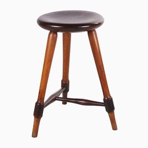 Antique Oak Stool with Patina, 1920s