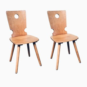 Dutch Brutalist Wooden Dining Chairs from Vervoort Tilburg, 1960s, Set of 2