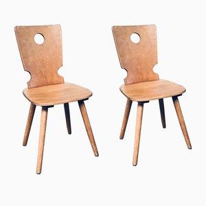 Niederländische Brutalistische Holz Esszimmerstühle von Vervoort Tilburg, 1960er, 2er Set