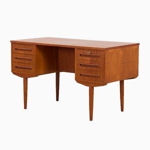 Danish Freestanding Teak Desk with 6 Drawers, 1960s
