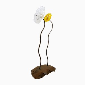 Large Flowers Sculpture in Metal and Glass