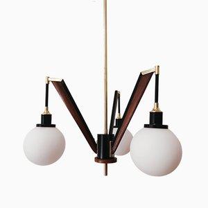 Vintage Brass & Wooden Ceiling Lamp from Stilnovo