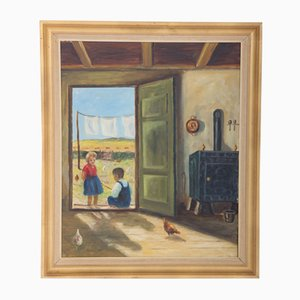 Dänische Gemälde, Kinder und Hühner, 1930er
