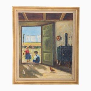 Danish Painting, Children and Chickens, 1930s