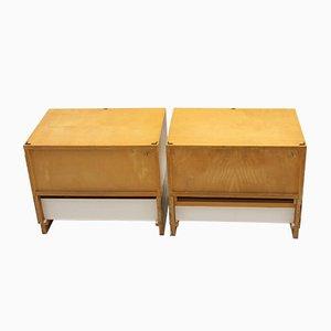 Vintage Bedside Tables with Drawers & Hidden Drawer, 1960s, Set of 2