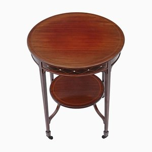 Antique Victorian Circular Inlaid Mahogany Occasional Side Table, 1900s