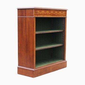 Antique Victorian Adjustable Inlaid Mahogany Shelf, 19th Century