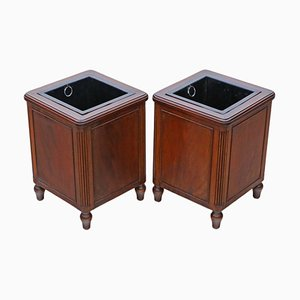 Mahogany Jardiniere Planters or Paper Bins, Early 20th-Century, Set of 2
