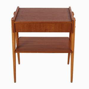 Swedish Bedside Table with Drawer & Elegant Legs from AB Carlstrom, 1960s