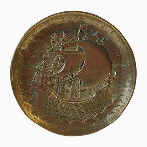 Art Deco Bronze Dish with Frigate, 1930s