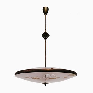 Mid-Century Double-Glaze & Brass Ceiling Lamp