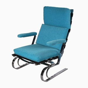 Chrom Relax Stuhl mit Meeresblauem Bezug, 1960er