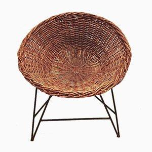 Mid-Century GDR Rattan Basket Armchair