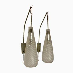Scandinavian Glass Sconces, 1950s, Set of 2