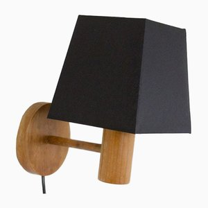 Small Artisan Wooden Wall Lamp with Black Shade, 1970s