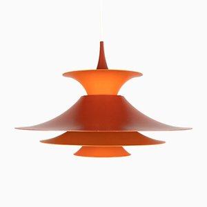 Orangefarbene Radius Hängelampe von Erik Balslev für Fog & Mørup, 1970er