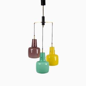 Italienische 3-Leuchten Hängelampe aus Muranoglas von Stilnovo, 1950er