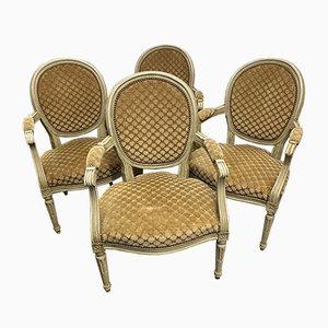 Antike französische Armlehnstühle, 4er Set