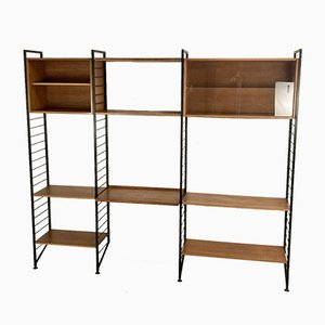 Modular Wall Leaning Teak & Metal Ladderax Storage Shelving Unit by Robert Heals for Staples, UK, 1960s, Set of 13