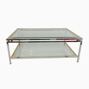 Glass & Chrome Steel Coffee Table in the Style of Romeo Rega, 1970s