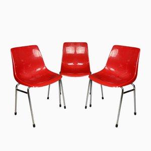 Französischer Roter Mid-Century Stuhl aus Kunststoff von Grosfillex, 1980er, 3er Set