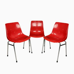 Mid-Century French Red Plastic Chair from Grosfillex, 1980s, Set of 3