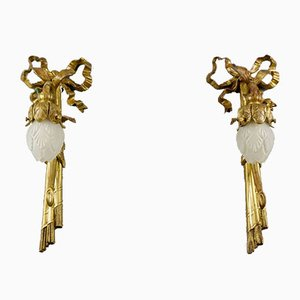 Neoclassical Style Bronze and White Glass Sconces, 1920s, Set of 2