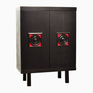 De Coene Style Brutalist Black Highboard with Red Accents, Belgium, 1960s