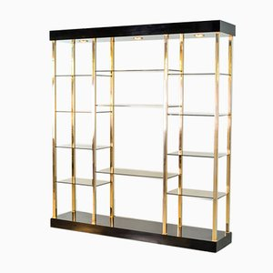Hollywood Regency Style Black Lacquered Shelving Unit from Belgo Chrom / Dewulf Selection, Belgium, 1970s