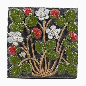 Pomona Series Strawberries Wall Plate by Lisa Larson for Gustavsberg, 1970s
