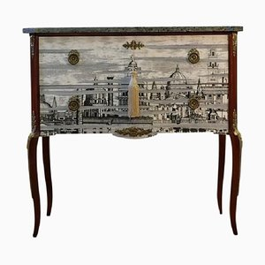 Fornasetti Chest with Marble Top and Detailed Legs, 1950s