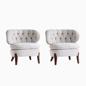 Swedish Gray Chenille & Beech Lounge Chairs by Otto Schulz for Boet, 1940s, Set of 2