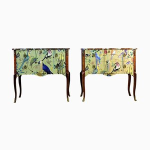Gustavian Louis XV Style Chest of Drawers with Christian Lacroix Design, 1950s, Set of 2
