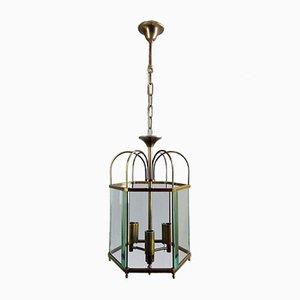 Italian Brass & Beveled Glass 3-Light Ceiling Lamp, 1960s