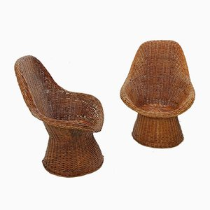 Wicker Armchairs, 1970s, Set of 2