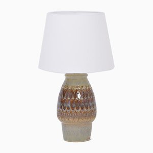 Brown Handmade Danish Stoneware Table Lamp from Søholm, 1970s