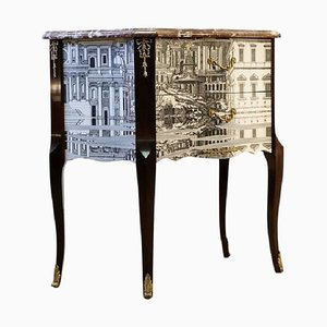 Louis XV Style Console Table with Marble Top by Piero Fornasetti