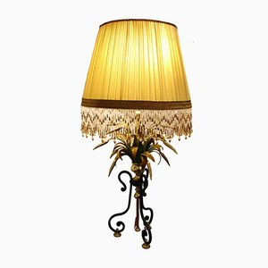 Wrought Iron and Brass Table Lamp, 1980s