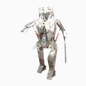 Robot Brutaliste Scrapart en Métal, 1978s